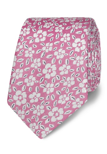 T.M. LEWIN pink T.M.Lewin Pink Floral Jacquard Silk Slim Tie E3AF0ACA695FAAGS_1