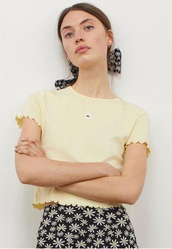 H&M yellow Short-Sleeved Top 659C0AA94D7456GS_1