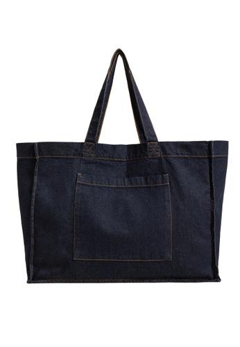Mango blue Denim Shopper Bag EFE2BAC568DFABGS_1