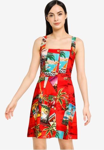 Desigual red Short Linen Pinafore Dress EBFBAAA9B342C1GS_1