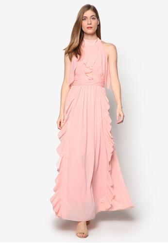 Angeli尖沙咀 esprit outletne 抓皺荷葉飾無袖連身長袍, 服飾, 洋裝