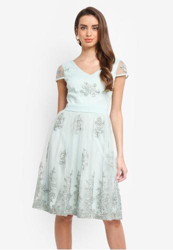 Dorothy Perkins green Embroidered Mini Prom Dress BB7BAAAB449F1BGS_1