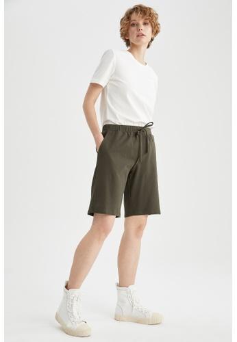 DeFacto green High Waist Sweatshirt Short 0C816AAA7CE23DGS_1