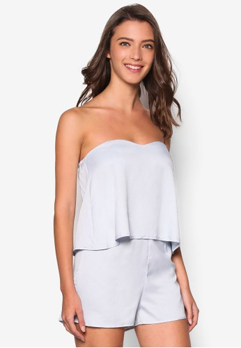 Love Bandeau Layered Playsuit, 服飾, 連zalora taiwan 時尚購物網身褲