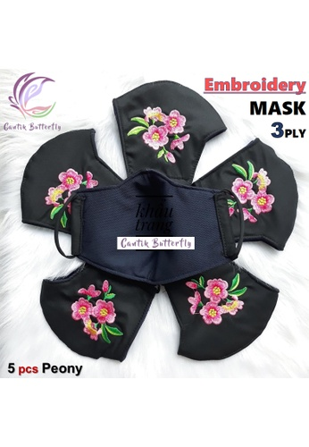 Cantik Butterfly black Embroidery Mask 3Ply Reuseable Washable Face Mask Non Surgical Mask (Peony) Set of 5 E81BFES9F62EC7GS_1