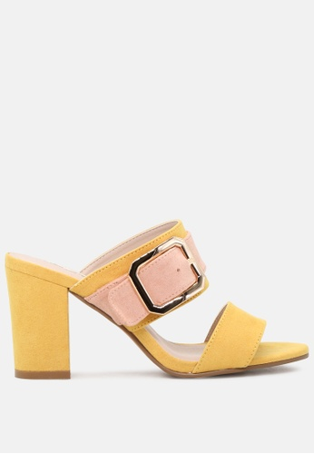 London Rag yellow Strappy Dual Tone Block Heeled Sandals 4DDBBSH58DF1AFGS_1