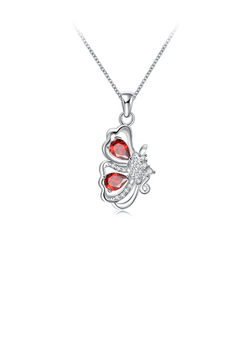 Glamorousky white Elegant Pop Butterfly Pendant with Red Cubic Zircon and Necklace 5A600ACAC3851AGS_1