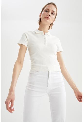 DeFacto beige Short Sleeve Polo T-Shirt E2828AA4699AFFGS_1