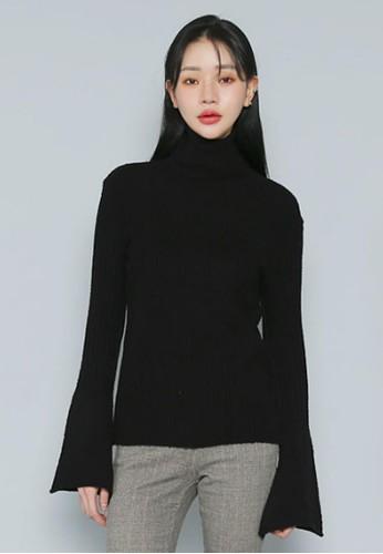 喇叭袖波紋針織上衣, 服飾, 毛衣&zalora 包包評價; 針織外套