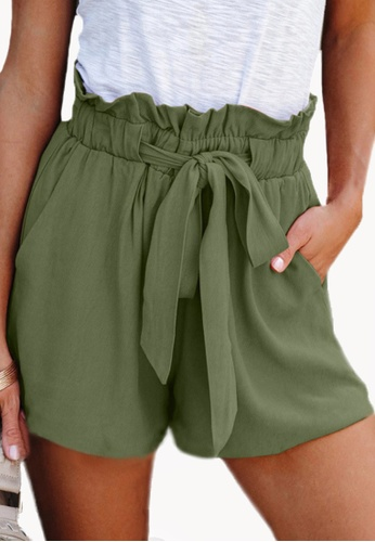 Twenty Eight Shoes green VANSA Simple Lace-up Wide Leg Shorts   VCW-St3384 3473BAA3821977GS_1