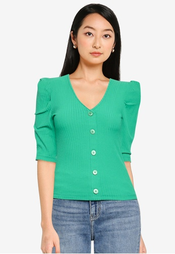 ONLY green Nella 2/4 Button Top 9F4B0AACCEED6FGS_1