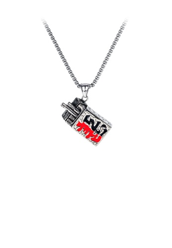 Glamorousky silver Fashion Creative Cigarette Box 316L Stainless Steel Pendant with Necklace E6FBAAC9643AF6GS_1