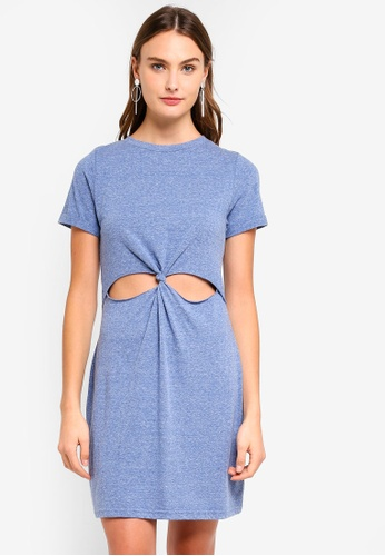 Brave Soul blue Short Sleeve Dress With Twisted Front 79E65AACD95756GS_1