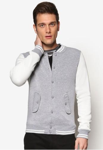 撞色拼接鈕扣棒球外套, 服飾, zalora 包包 ptt外套