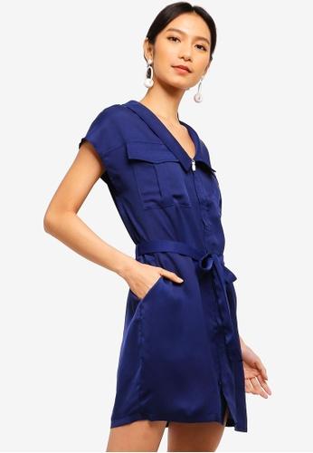 ZALORA 藍色 Sleek Satin Utility Dress C2DD8AA3DC6C18GS_1