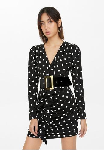 Pomelo black Polka Dot Wide Belt Draped Dress - Black 218D2AA571804EGS_1