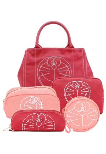 LULUGIFT red Lulugift Doraemon Canvas Fabric Zipper Set Bag 5in1 Red BE633AC8B872EEGS_1