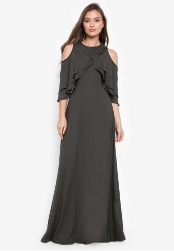 BARBA green Charmeuse Peek-A-Shoulder Dress 42090AA01F4F9CGS_1