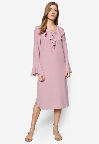 ZALORA purple Collection Lace Up Frill Dress 639C4AAA994DC2GS_1