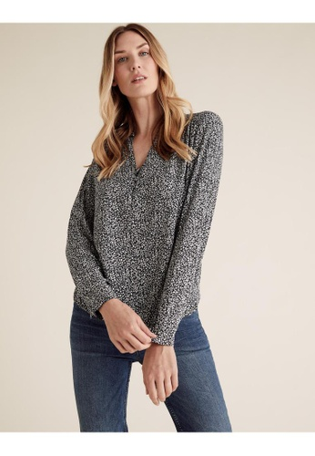 MARKS & SPENCER navy M&S Ditsy Floral V Neck Long Sleeve Blouse EC88CAAA5774B4GS_1