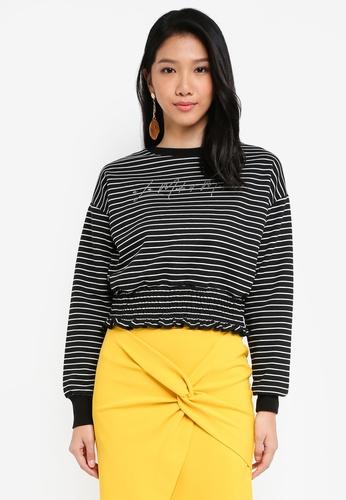 River Island black Black Stripe 'La Moderne' Cropped Sweater 484BCAA689C099GS_1