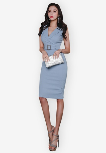 Sunnydaysweety blue Sleeveless Notched Neckline One Piece Dress 1305AAA62F3B6CGS_1