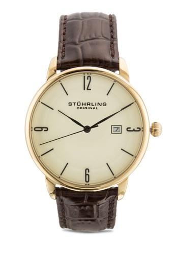 Stuhrling Original brown Stuhrling Original Men's 997L.03 Ascot Date Brown Leather Strap Watch ST251AC57ILIMY_1