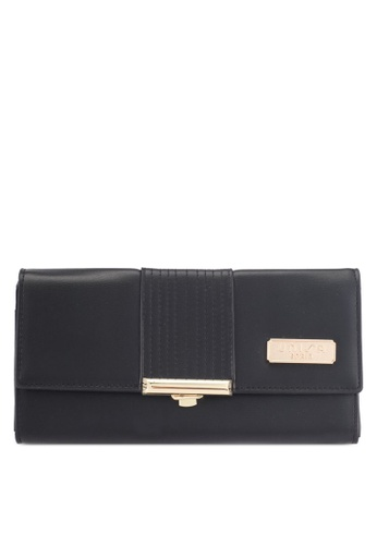 Unisa black Faux Leather Bi-Fold Ladies Wallet With Push Lock 72C88AC3A3BB5BGS_1