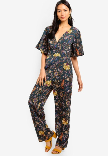ZALORA green and multi Flare Sleeves Jumpsuit 32464AA378F6D8GS_1