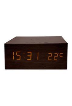 Wood Finish Alarm Clock With NFC Bluetooth Speaker And FM Radio