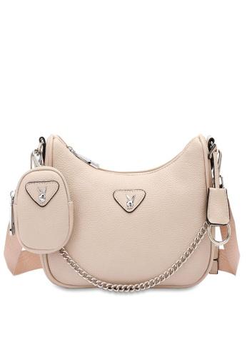 PLAYBOY BUNNY beige Women's Sling Bag / Shoulder Bag / Crossbody Bag 96046AC6C52389GS_1
