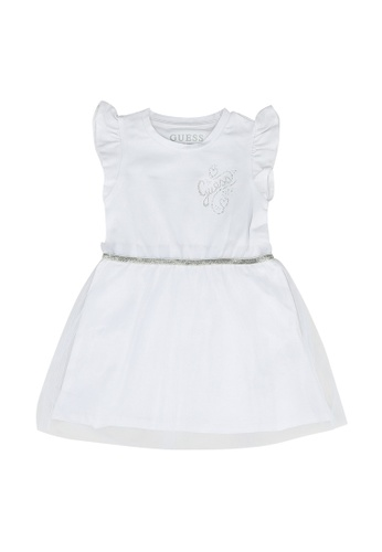 Guess white Mesh Insert Dress 38FE9KA70E996DGS_1