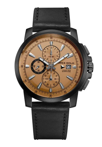 Aries Gold black Aries Gold Inspire Contender Gold and Black Leather Watch 5B9ABACC3FFA99GS_1