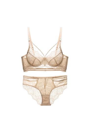 ZITIQUE orange Lace Lingerie Set (Bra And Underwear) - Champagne 53E5CUSCC82F82GS_1