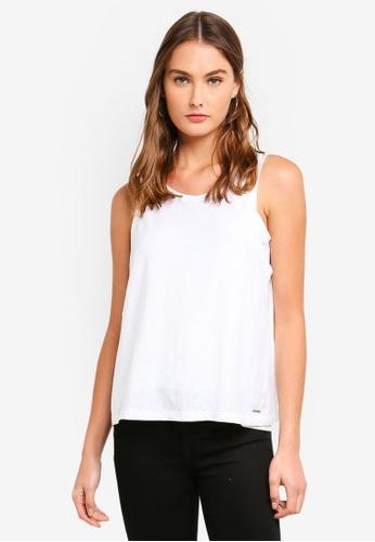 Calvin Klein white Linen Tank Top D7DD6AA36FCFECGS_1
