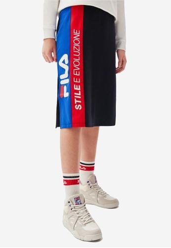 FILA navy Vertical FILA Logo Color Blocks Side Split Skirt CCAF9AA6F6080BGS_1