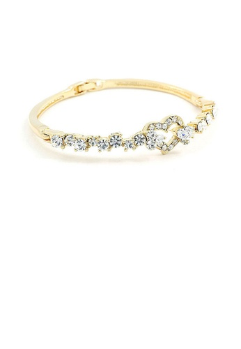 Glamorousky silver Elegant Golden Bangle with Silver Austrian Element Crystals B455EACC9013F4GS_1