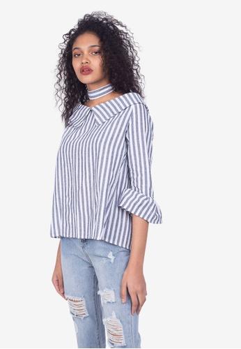 612854e1631145 Shop Somura Off Shoulder Stripes Top Online on ZALORA Philippines
