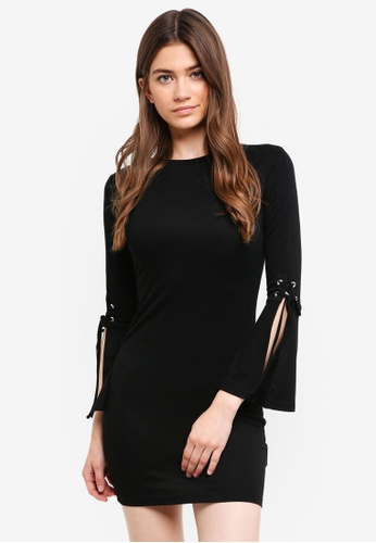 Something Borrowed black Laced Up Sleeves Bodycon Dress 05026AAE0D8D79GS_1