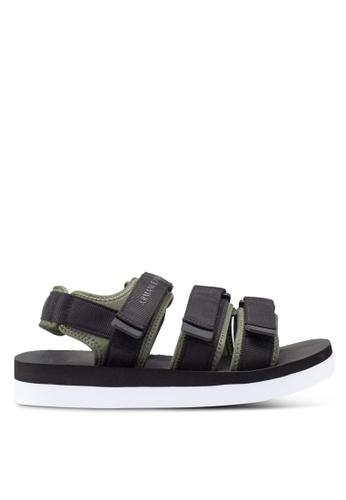 Armani Exchange black Retro Canvas Sandals 3372ESHE3B8CCEGS_1