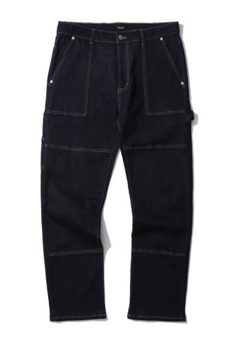 Fivecm navy Contrast stitch jeans FEA10AA8C928BDGS_1