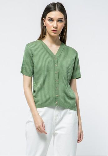 et cetera green V-neck Blouse 22978AA6E87C86GS_1