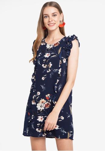 ZALORA multi and navy Ruffle Sleeve Dress 3972DAA788536CGS_1