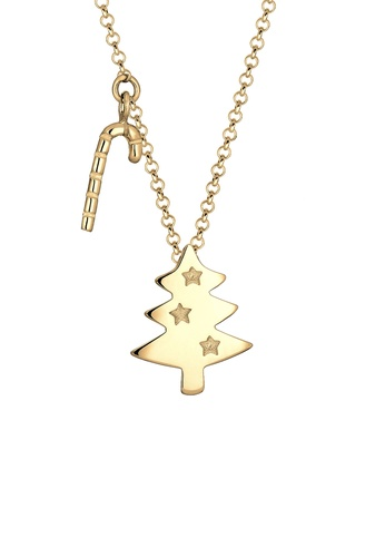 Elli Germany gold Elli Germany Necklace Christmas Tree Candy Cane 925 Silver Gold Plated EL474AC0SEV9MY_1