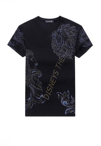 Twenty Eight Shoes black VANSA Fashion Beast Print Short-sleeved T-shirt VCM-TAH006 EF9D3AAB58B739GS_1