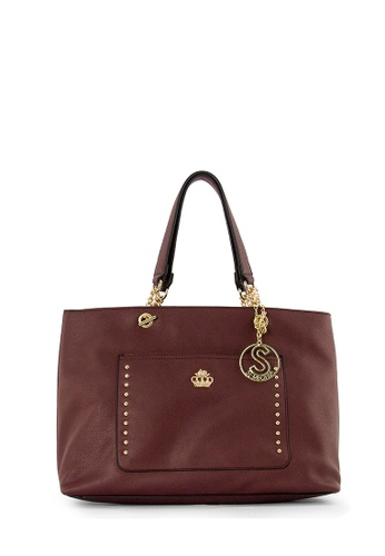 SEMBONIA red SEMBONIA Synthetic Leather Tote Bag (Maroon) 7EE34AC632ED89GS_1