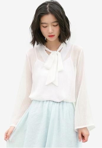 Shopsfashion white See Through Tie A Bow Blouse 198D3AA26E460FGS_1