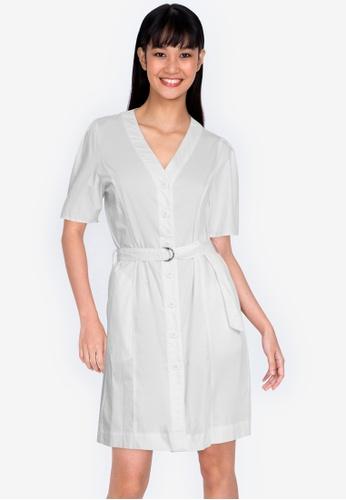 ZALORA BASICS white Button Front Pleated Back Shirt Dress 9541BAAC98A9C7GS_1