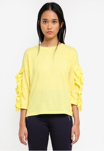 ONLY yellow ONLY ONE Ida Spring Ruffle Pullover C5B07AA0ED9B14GS_1