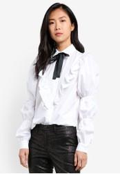 River Island white Puff Tie Poplin Shirt RI009AA0S8RSMY_1